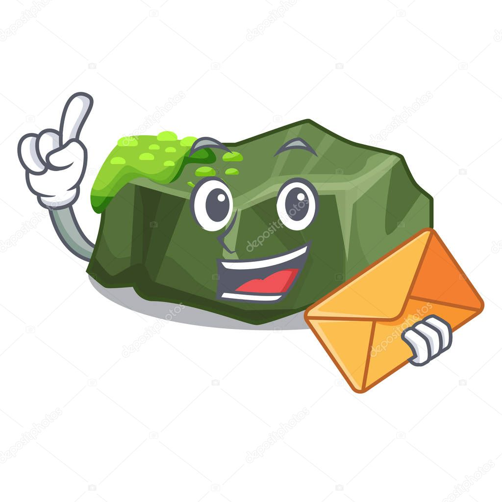 With envelope cartoon moss grow on sea rock vector illustration