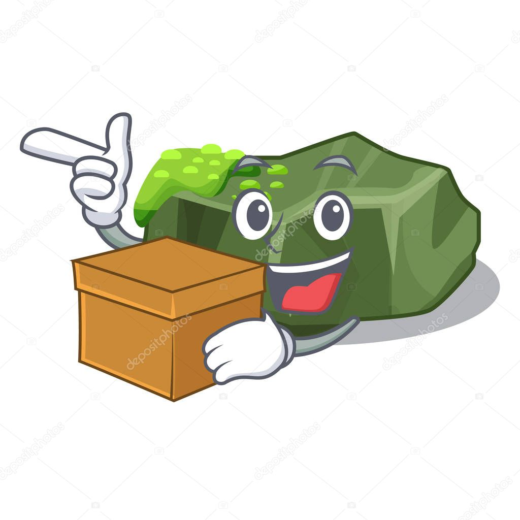 With box cartoon moss grow on sea rock vector illustration