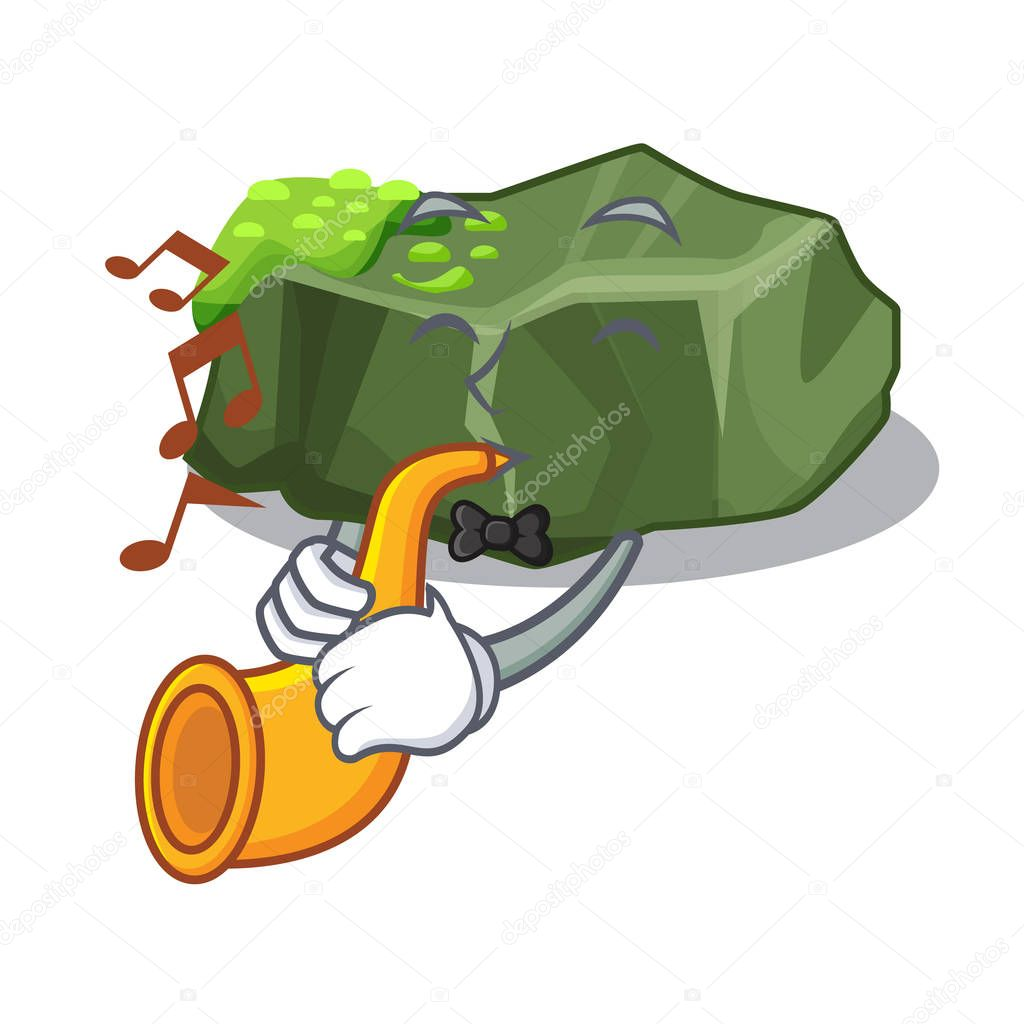 With trumpet cartoon large stone covered with green moss vector illustration