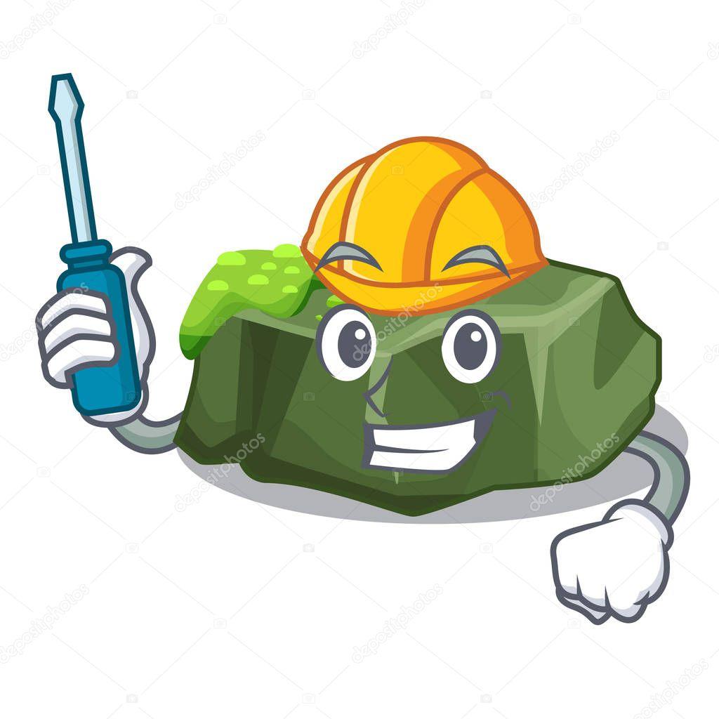 Automotive green rock moss isolated on cartoon vector illustration
