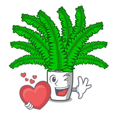 With heart cartoon natural green fern in the forest vector illusaration