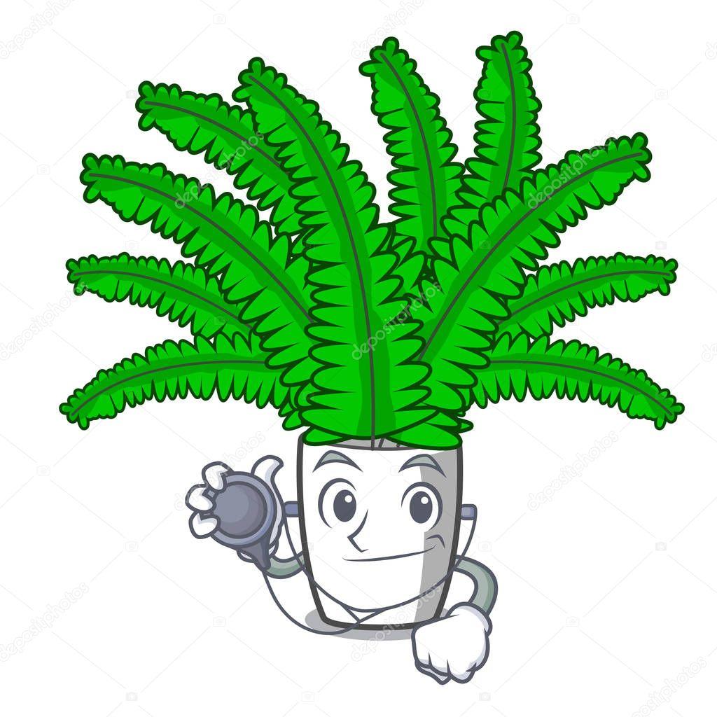 Doctor fern frond frame decoration on cartoon vector illustration