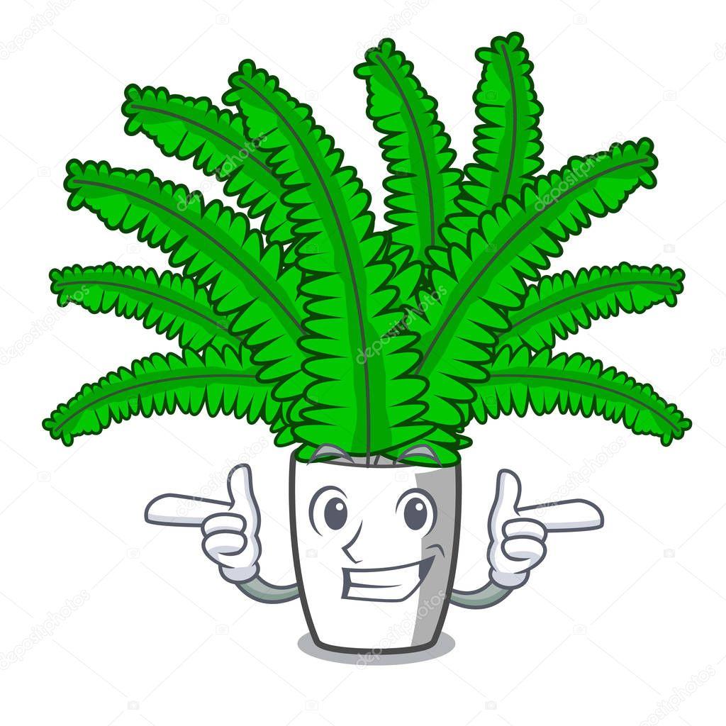 Wink beautiful cartoon ferns in green foliage vector ilustration