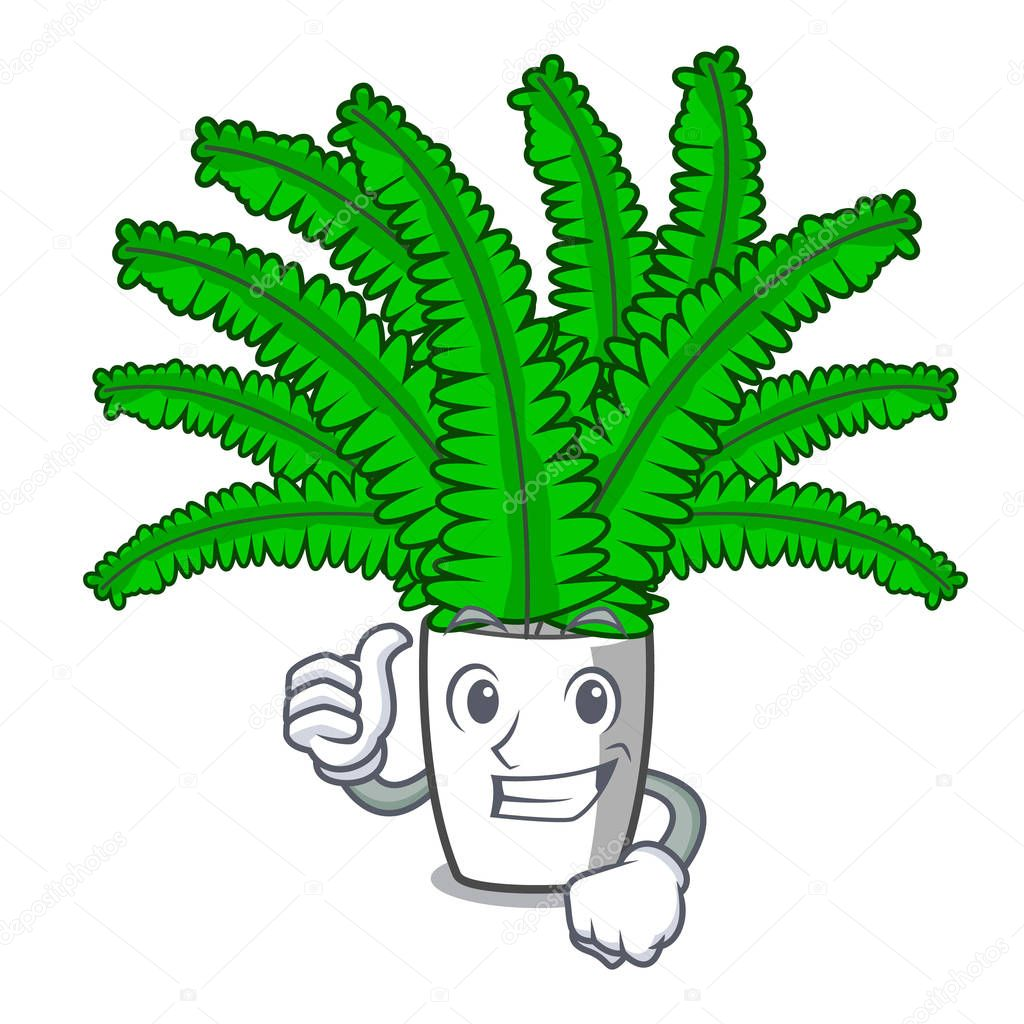 Thumbs up beautiful cartoon ferns in green foliage vector ilustration
