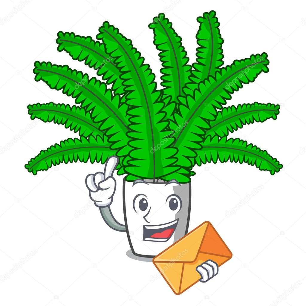 With envelope beautiful cartoon ferns in green foliage vector ilustration