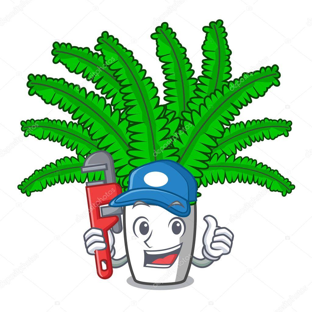 Plumber fresh fern branch isolated on mascot vector illustration