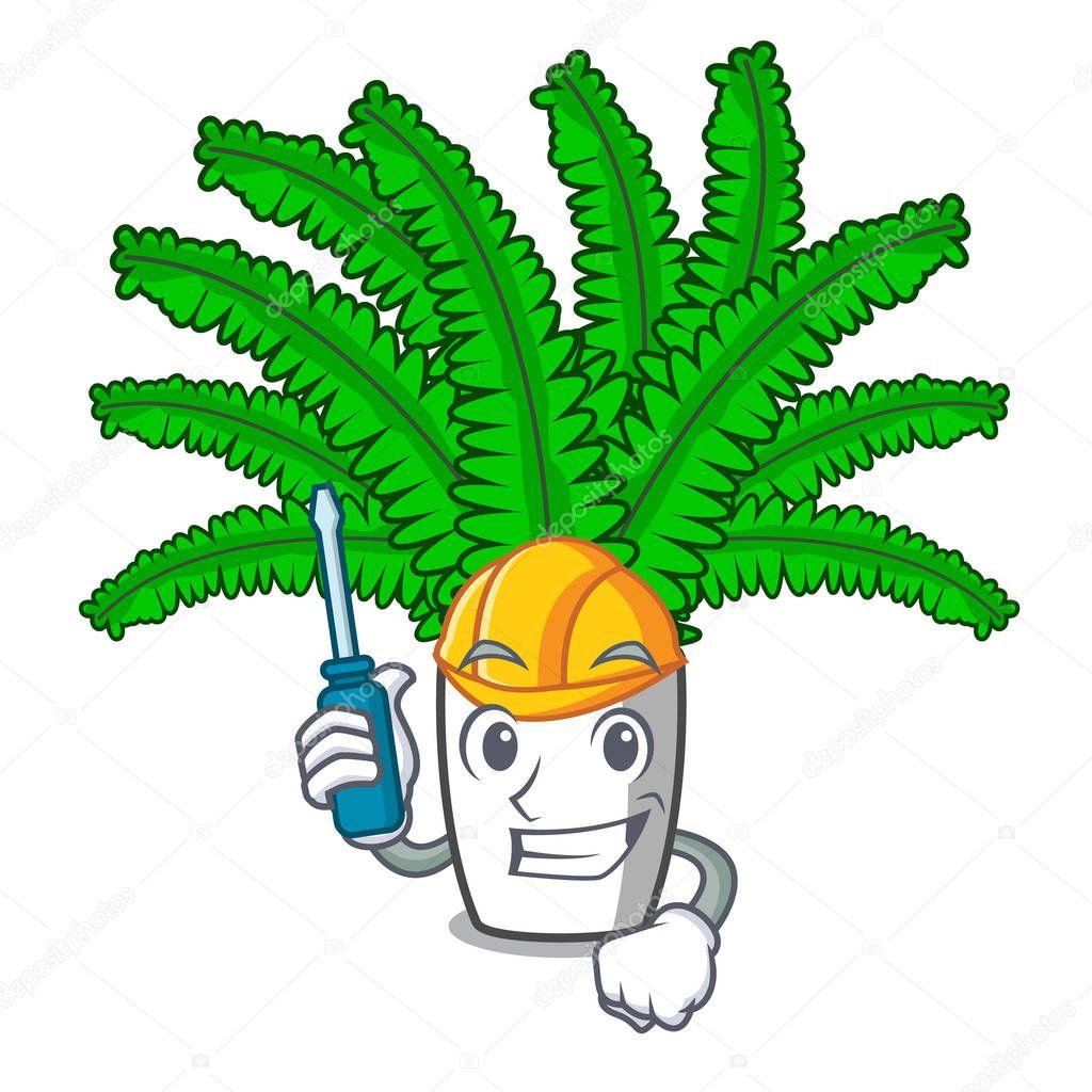 Automotive fresh fern branch isolated on mascot vector illustration