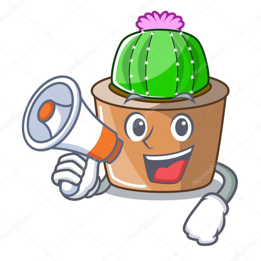 With megaphone character cartoon flower of star cactus vector illustration