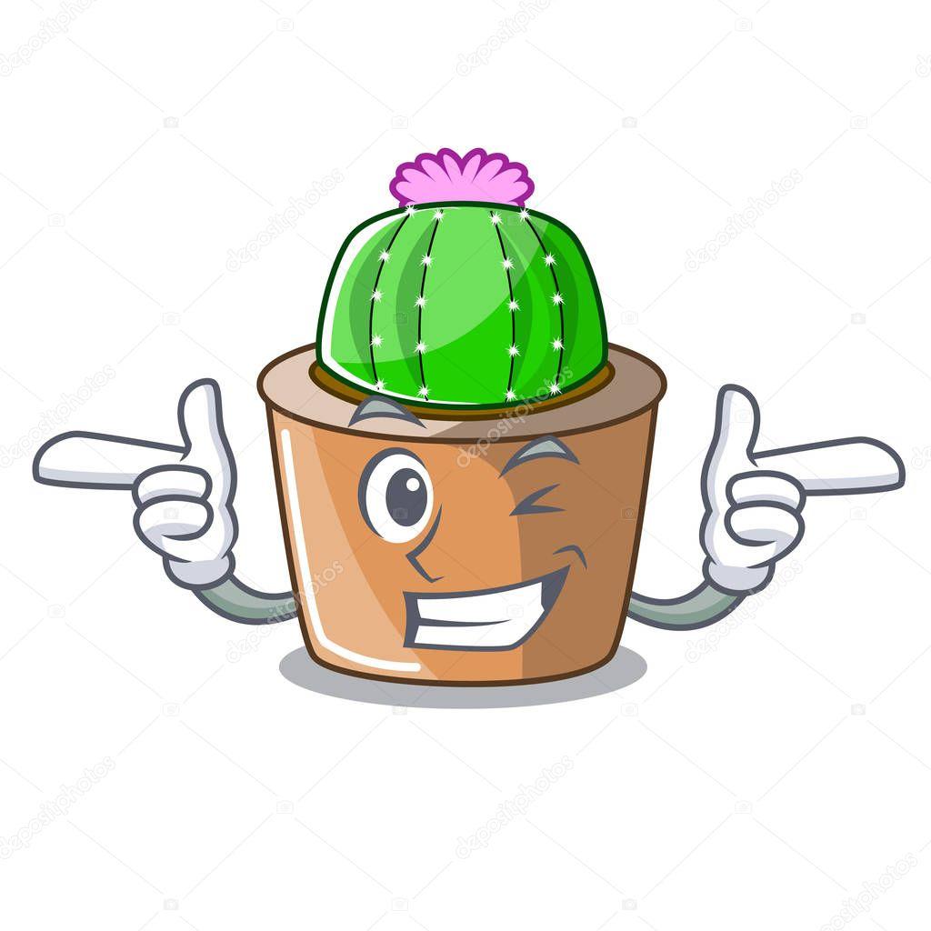 Wink cartoon star cactus plants at cactus farm vector illustration