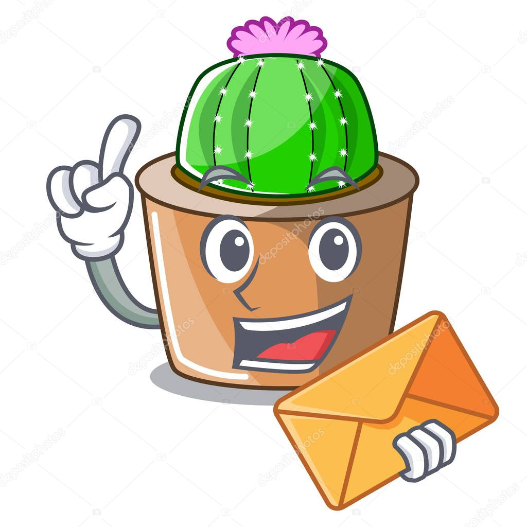With envelope cartoon star cactus plants at cactus farm vector illustration
