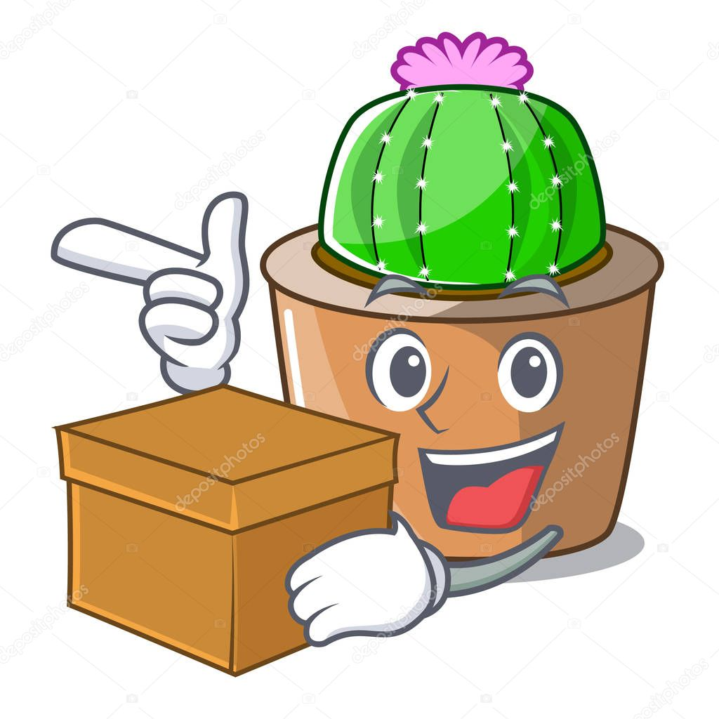 With box cartoon star cactus plants at cactus farm vector illustration