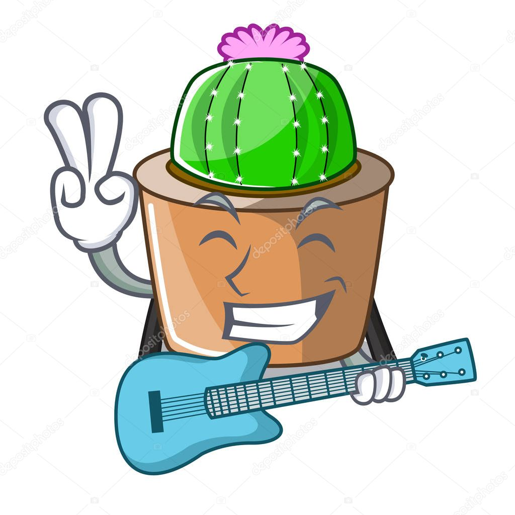 With guitar cartoon star cactus in flower pot vector illustration
