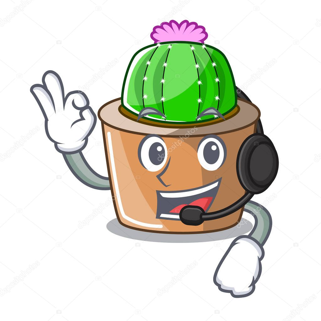 With headphone mascot star cactus decorate in the garden vector illustration