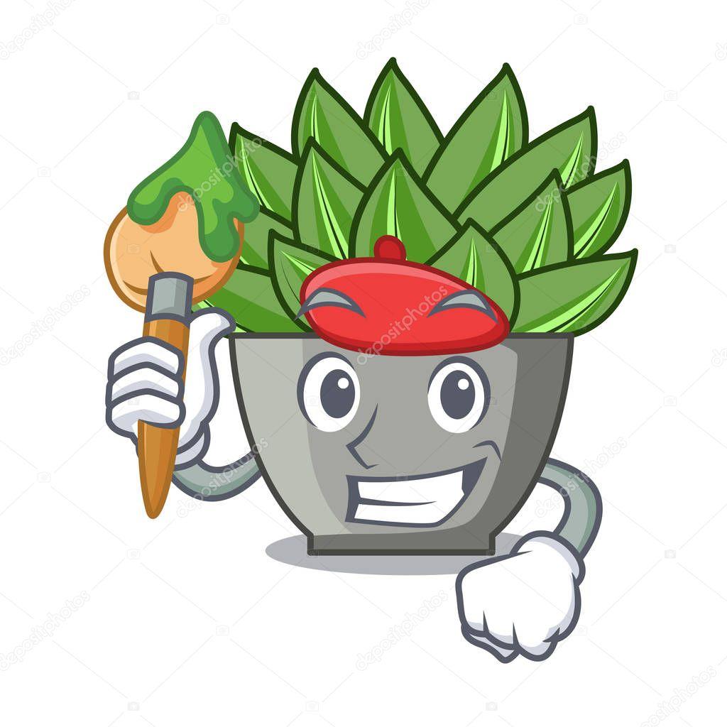 Artist character cartoon pot plant echeveria cactus