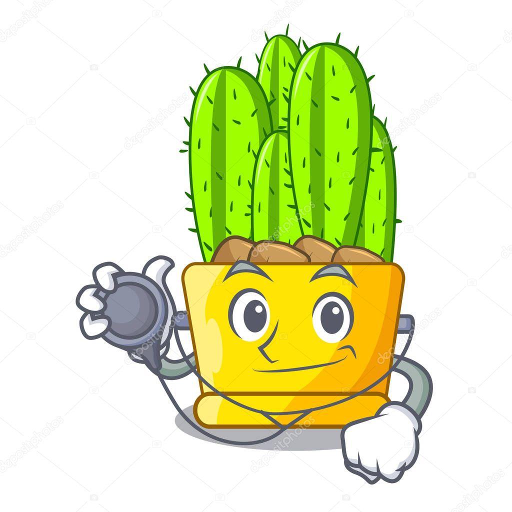 Doctor green cereus cactus on character cartoon