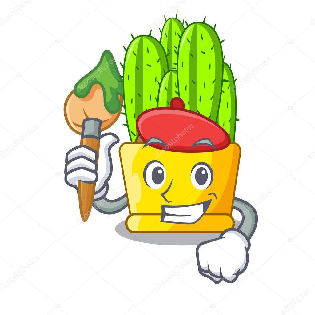 Artist green cereus cactus on character cartoon