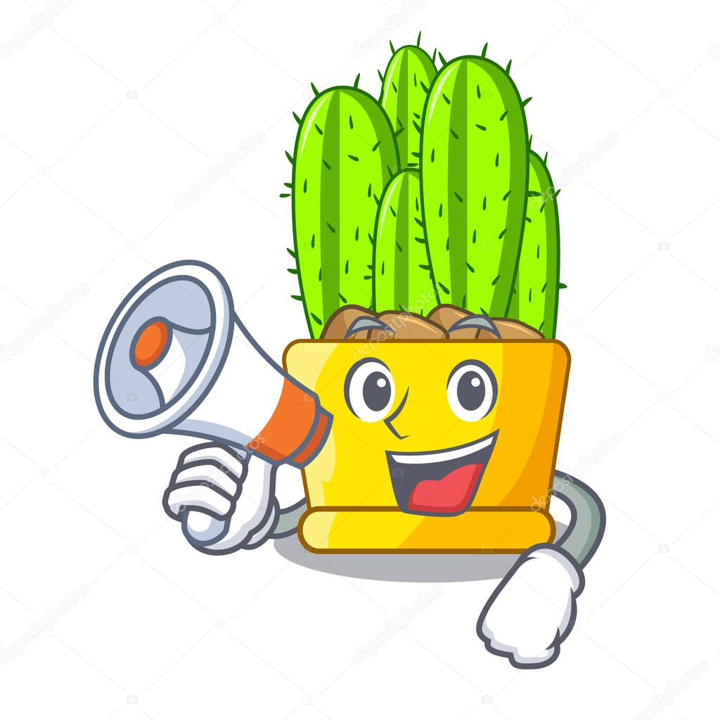 With megaphone green cereus cactus on character cartoon