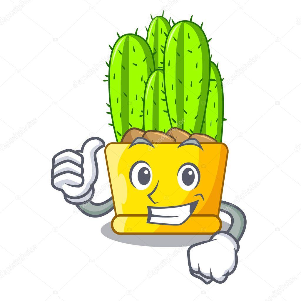 Thumbs up cereus cactus bouquet on character cartoon