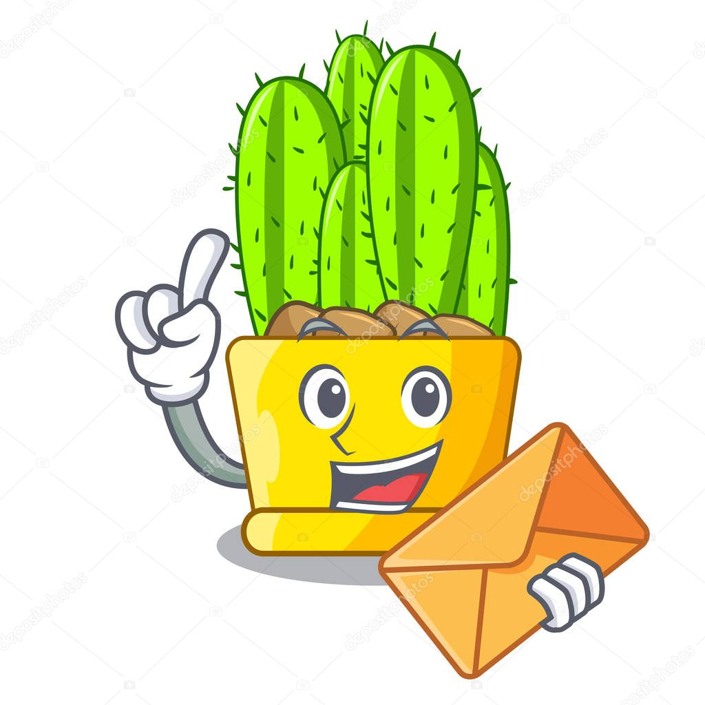 With envelope cereus cactus bouquet on character cartoon