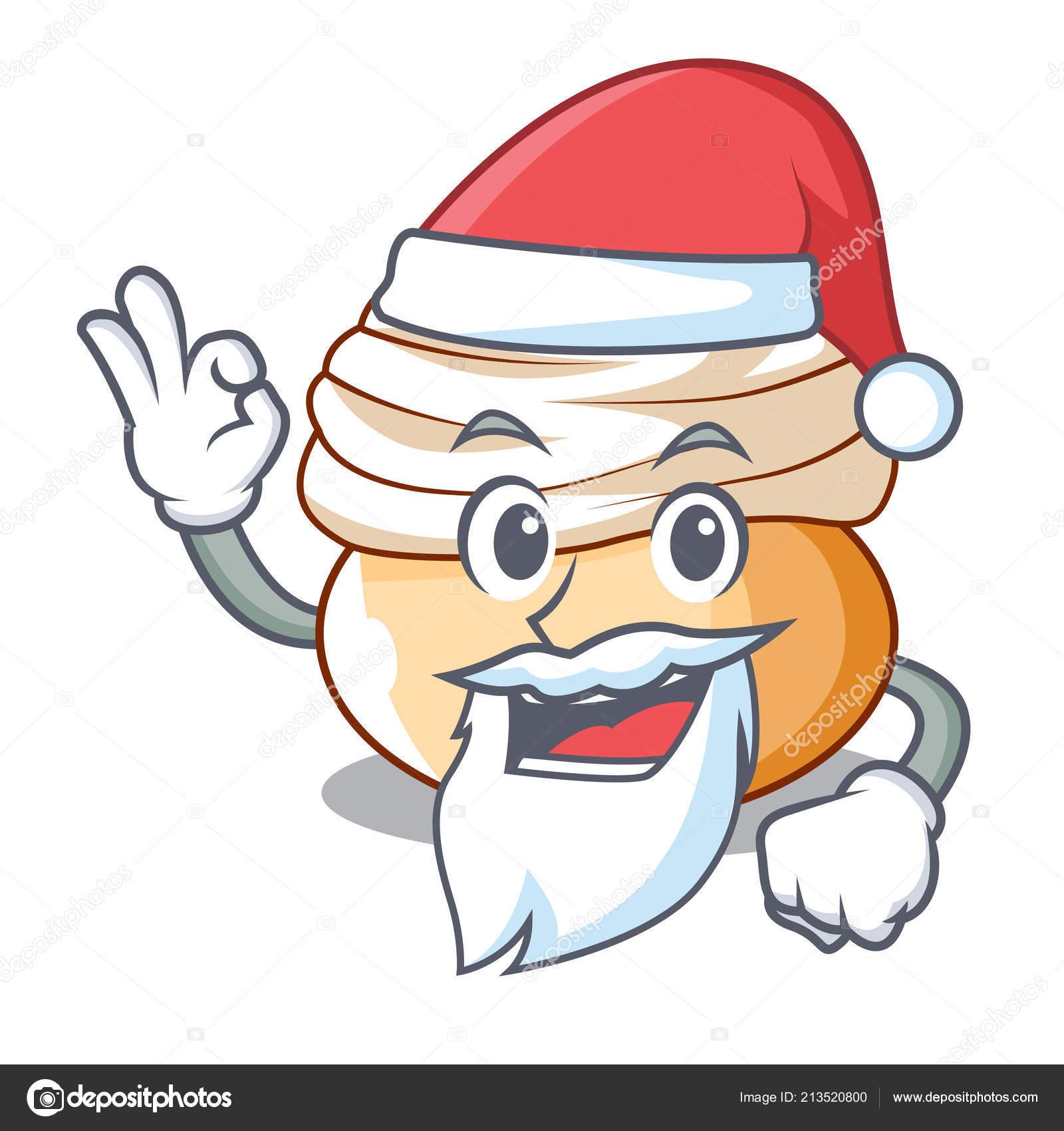 Santa Saisonale Schwedische Dessert Semla Brotchen Cartoon