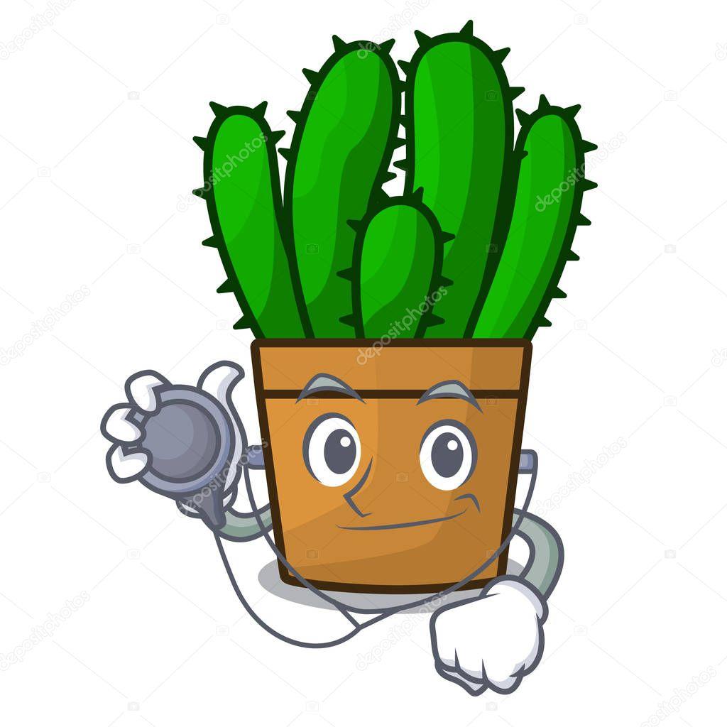 Doctor spurge cactus in a flowerpot cartoon