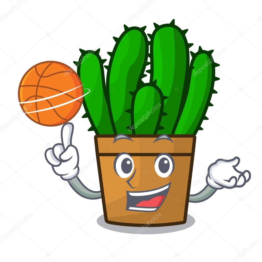 With basketball spurge cactus in a flowerpot cartoon