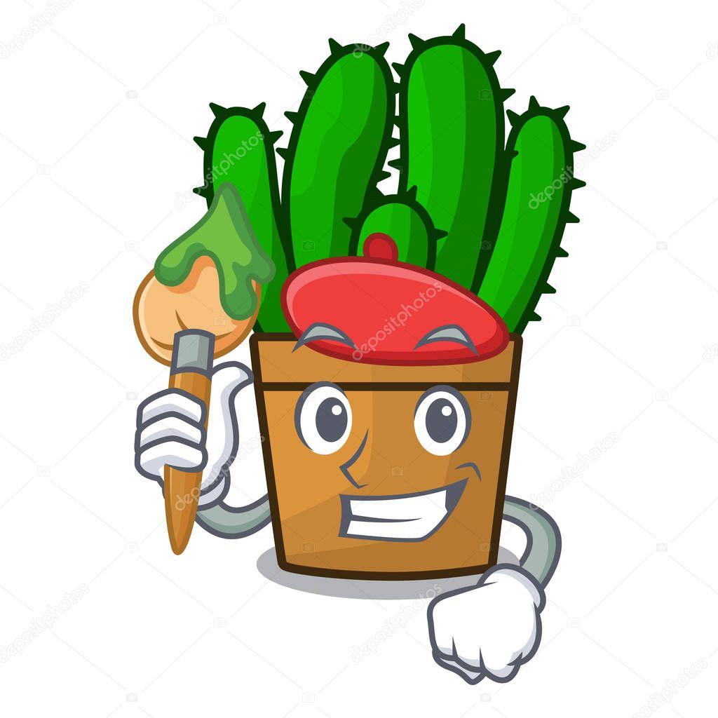 Artist spurge cactus in a flowerpot cartoon