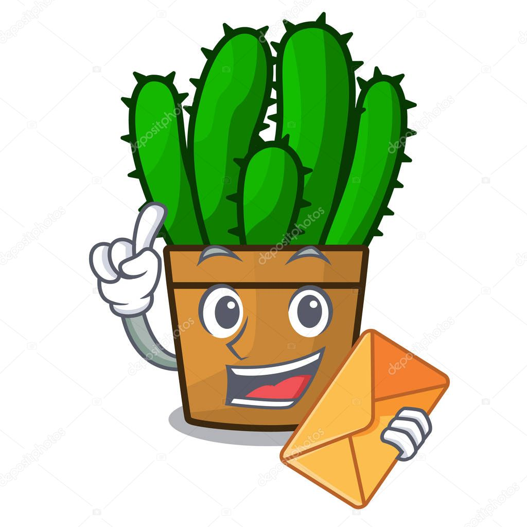 With envelope character spurge cactus home decor indoor vector illustration