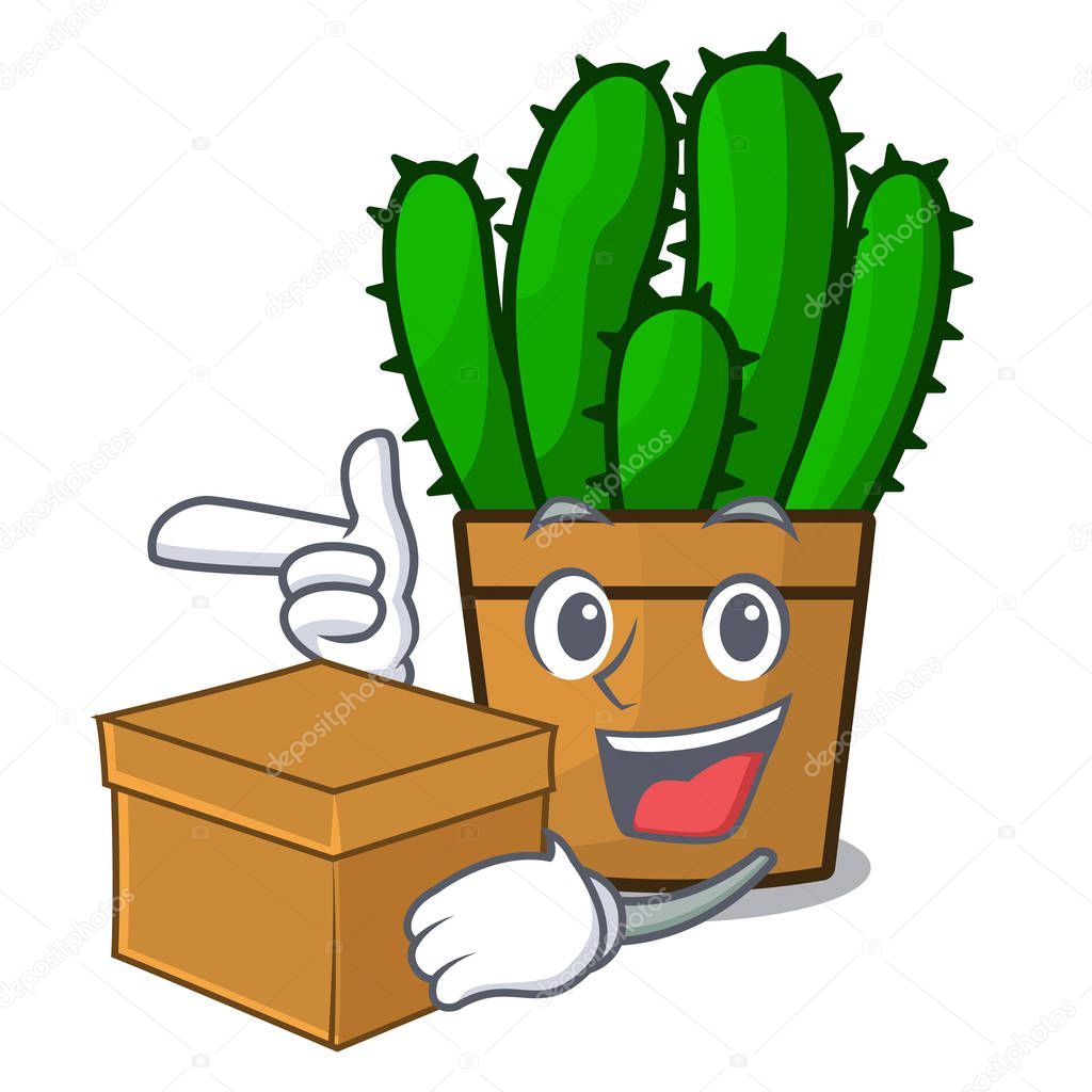 With box character spurge cactus home decor indoor vector illustration