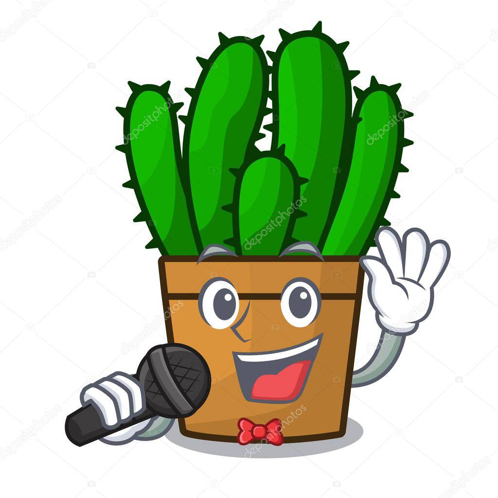 Singing spurge cactus plant isolated on mascot