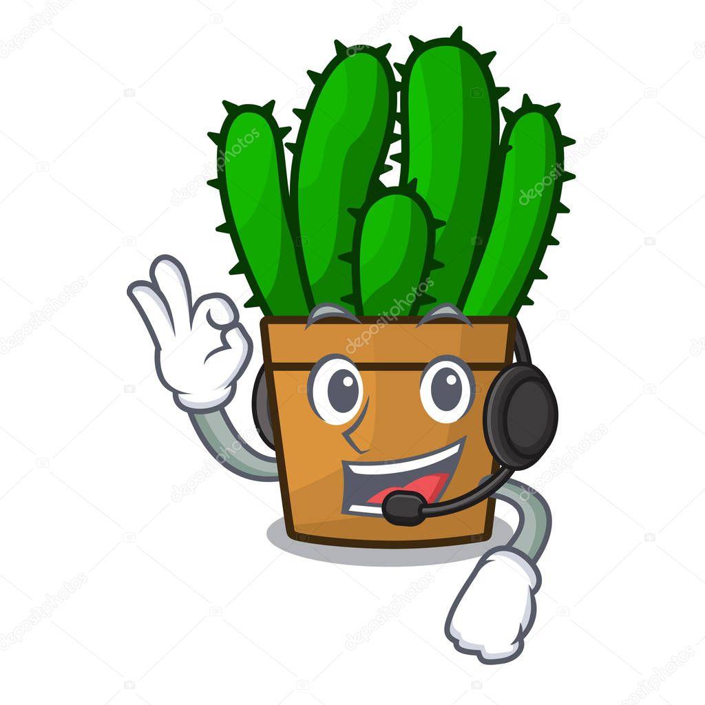 With headphone the beautiful spurge cactus plant cartoon vector illustration