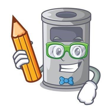 Student cartoon steel trash can in the door