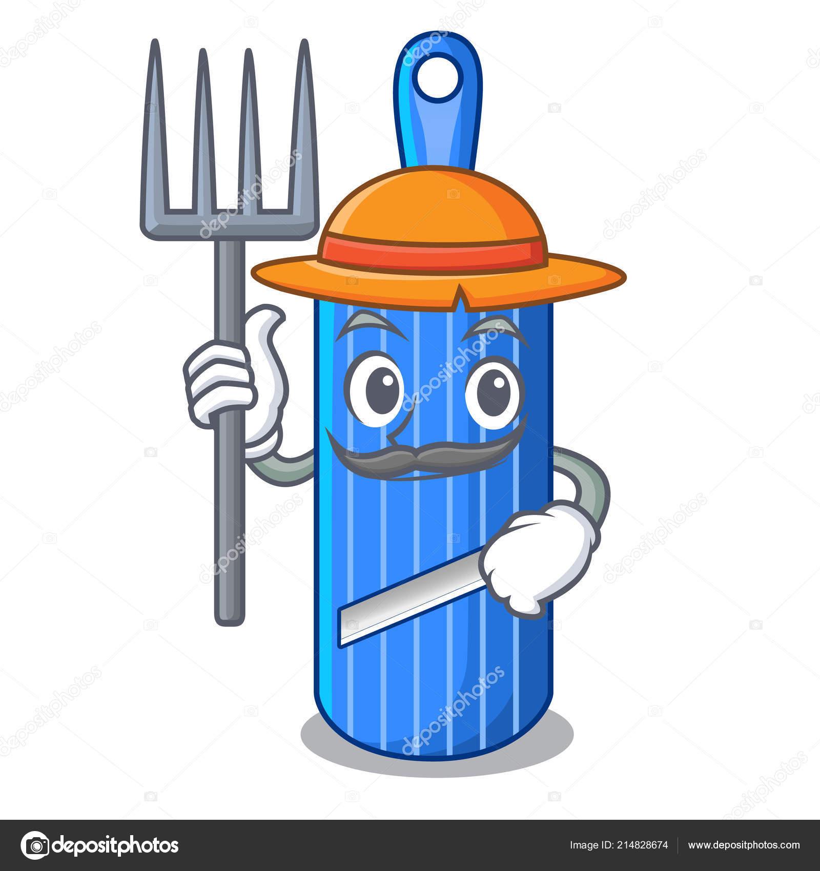 Farmer Cut Food On Mandolin Slicer Cartoon Stock Vector