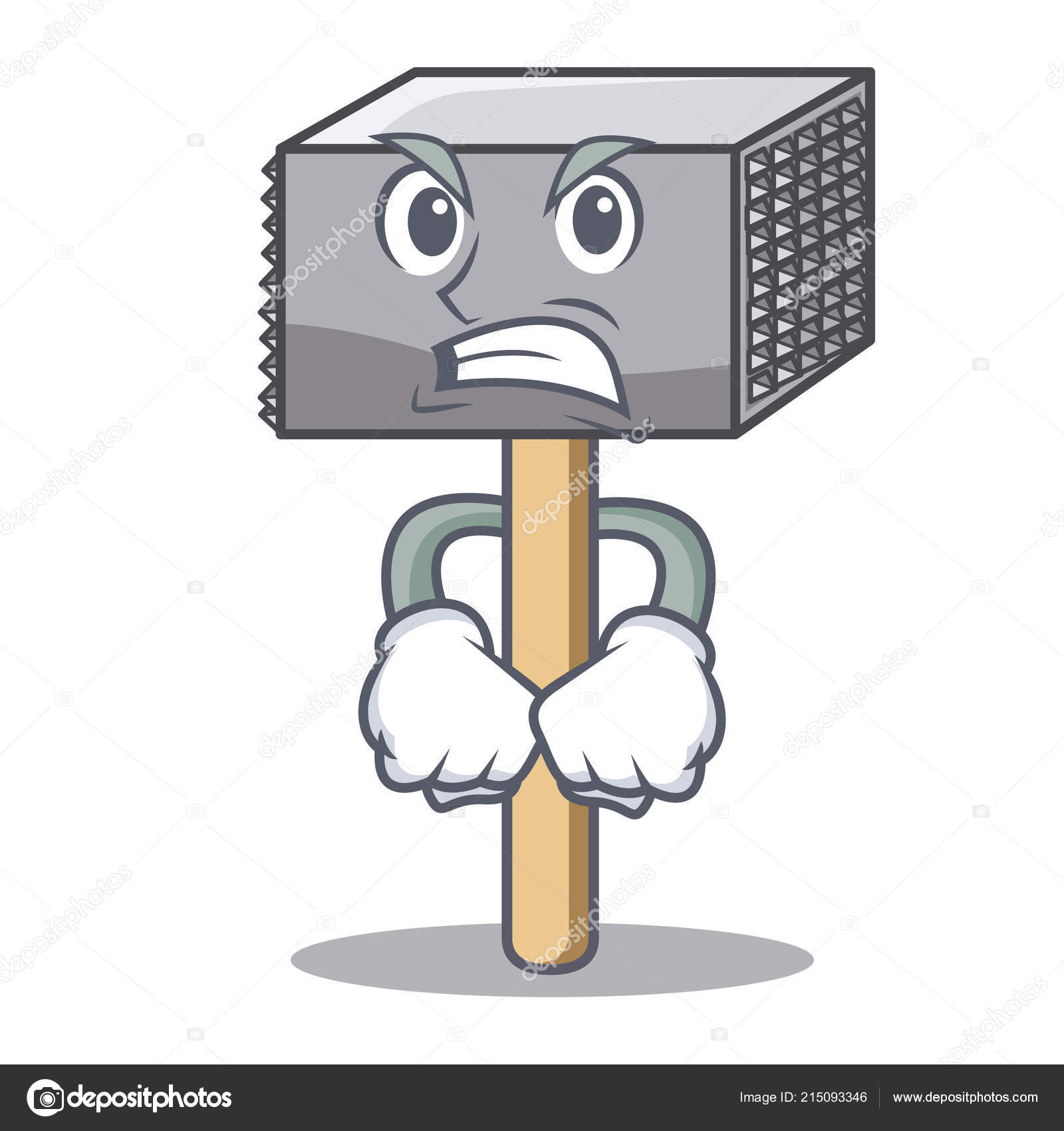 angry wooden meat hammer cartoon for kitchen utensil stock vector