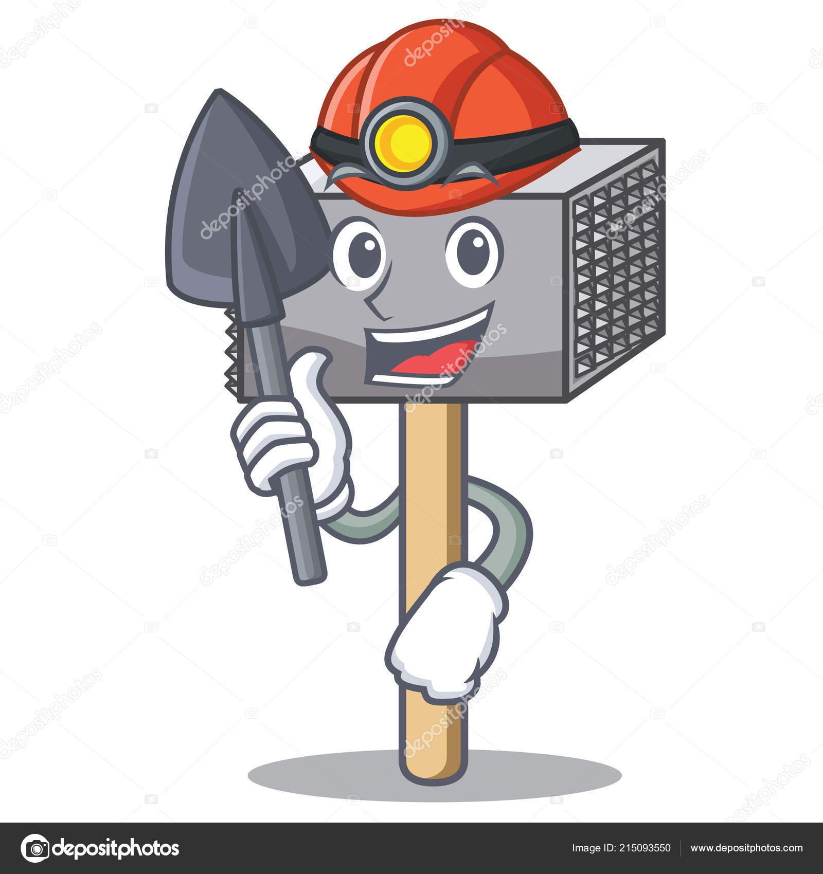 miner wooden meat hammer cartoon for kitchen utensil stock vector