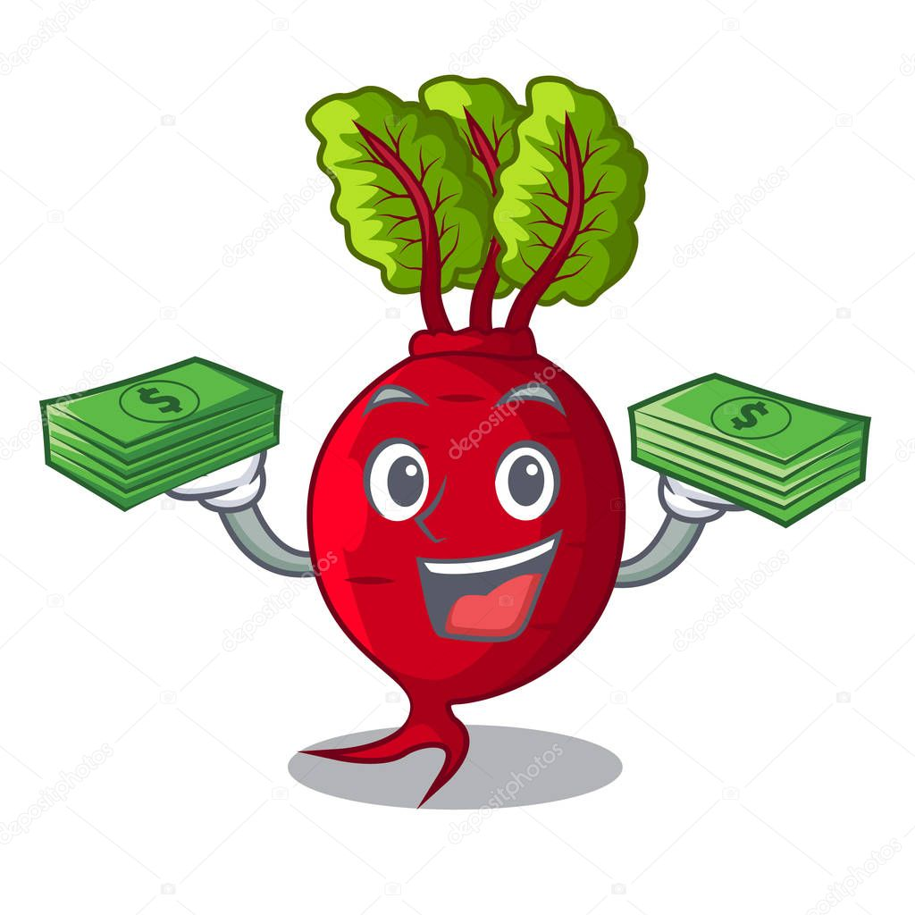 With money beetroot with leaves isolated on mascot