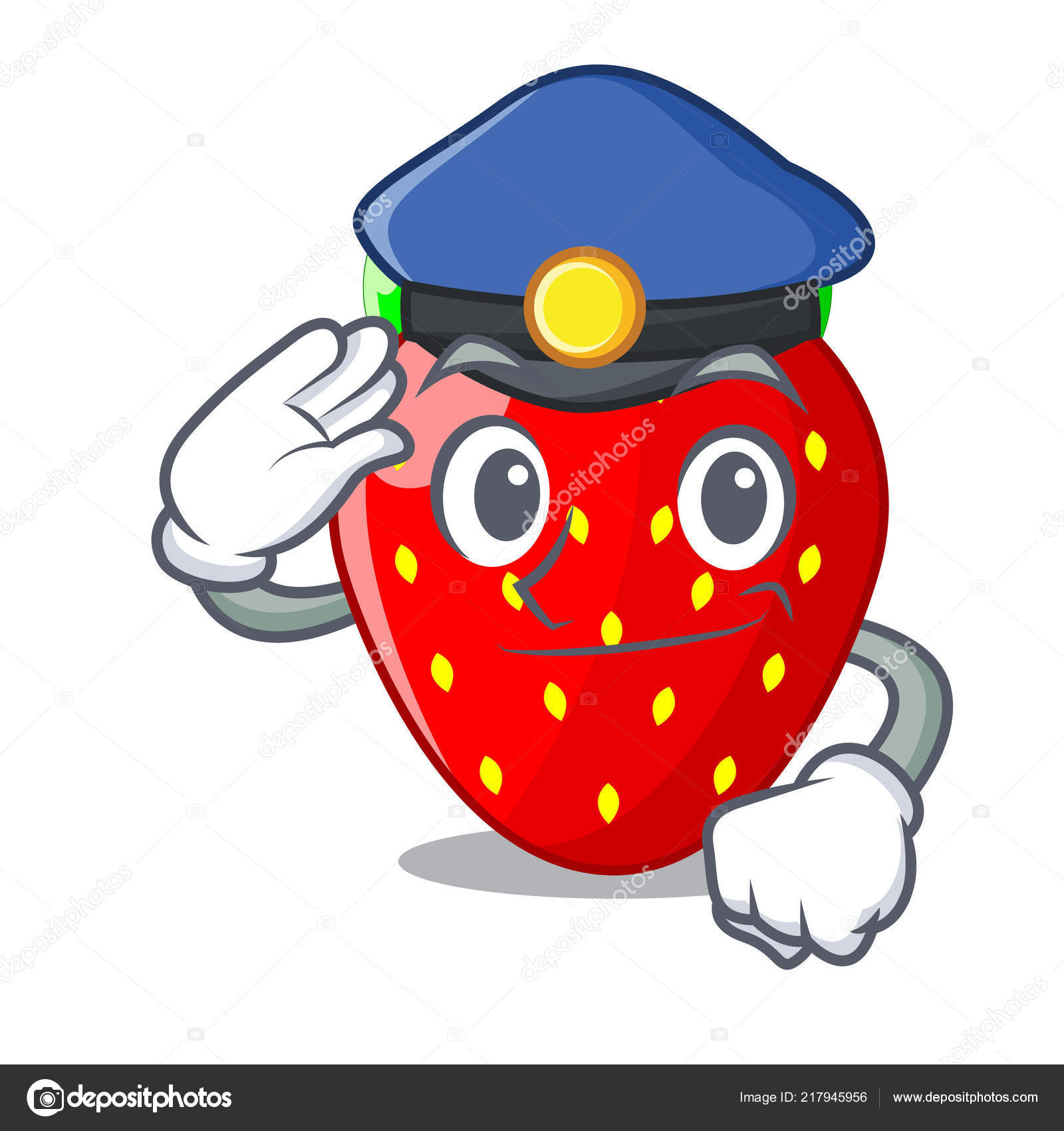 Police Character Strawberry Sweet In Store Fruit Stock Vector