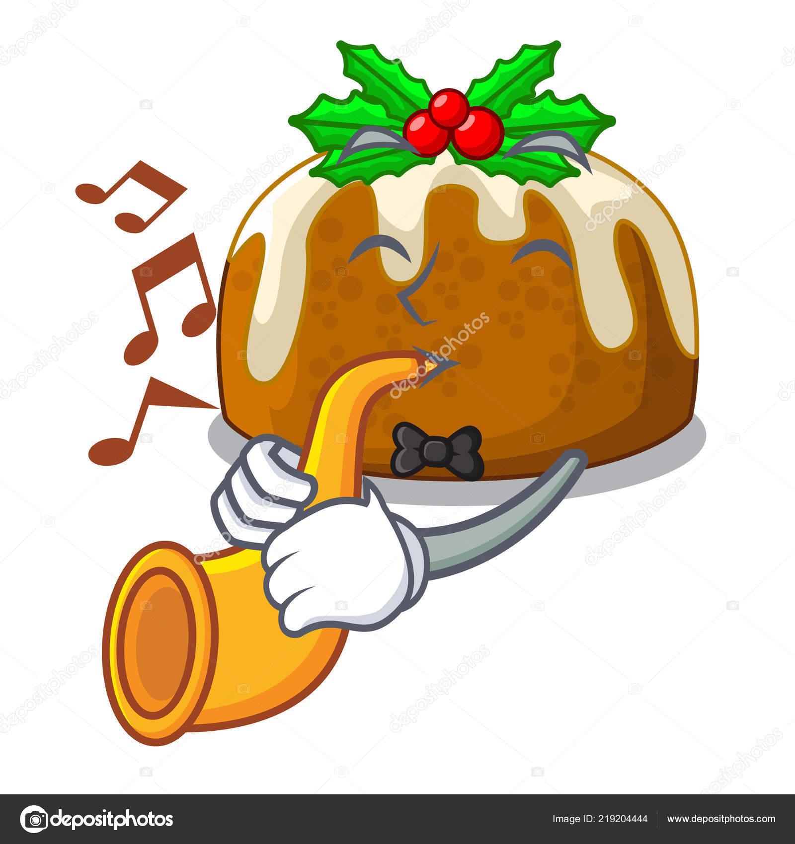 Con Pudín Navidad Trompeta Ilustración Vector Dibujos Animados Mesa