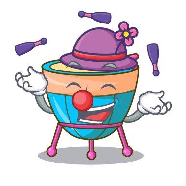 Juggling cartoon timpani isolated on the mascot