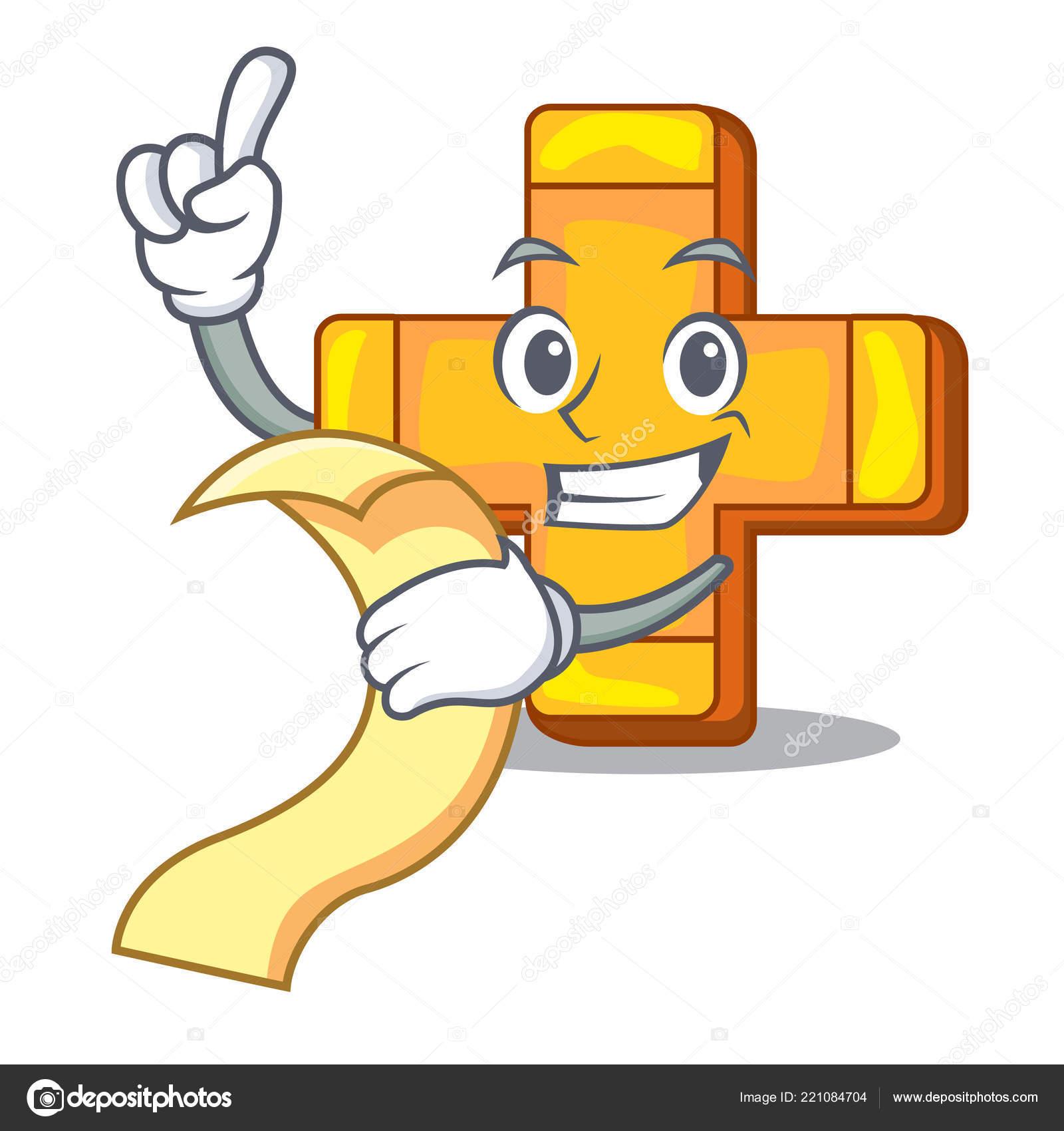 With Menu Retro Plus Sign Addition Symbol Cartoon Stock Vector