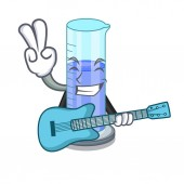 Fotografie With guitar graduated shaped cylinder Isolated on cartoon vector illustration