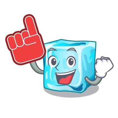 Foam finger ice cubes on the cartoon funny vector illustration