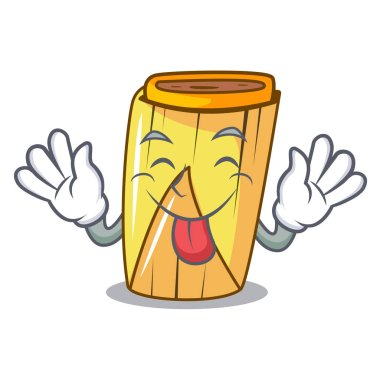 Tongue out tamale with corn leaf in cartoon vector illustration