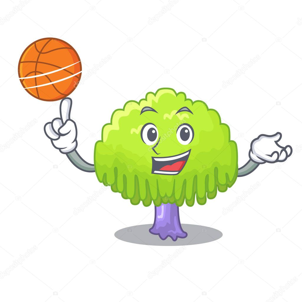 With basketball isolated weeping willow on the mascot vector illustration