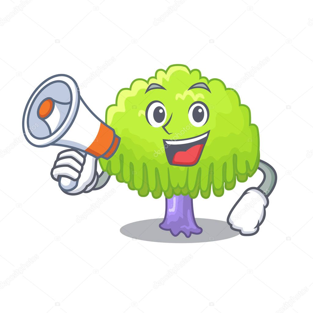 With megaphone isolated weeping willow on the mascot vector illustration