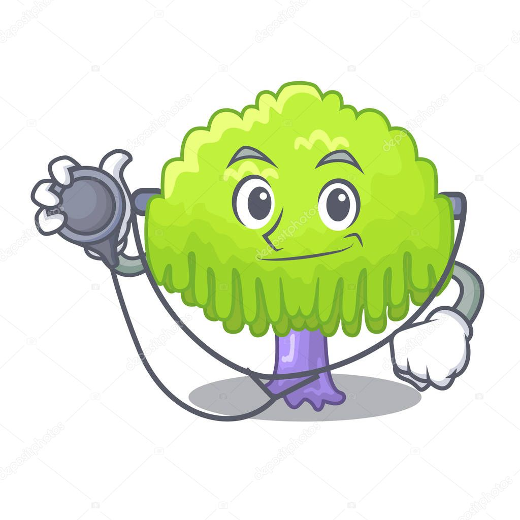 Doctor isolated weeping willow on the mascot vector illustration