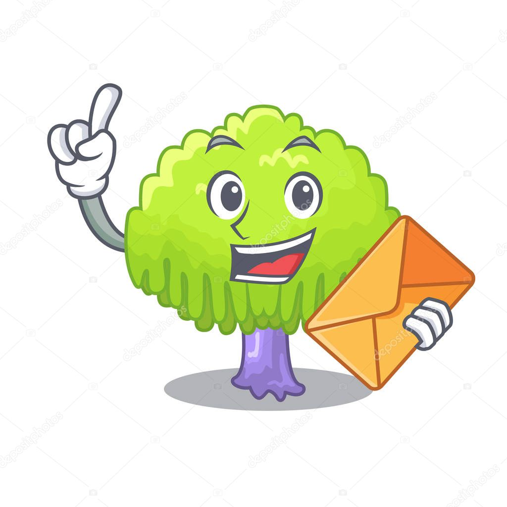With envelope drawing of willow tree shape cartoon vector illustration