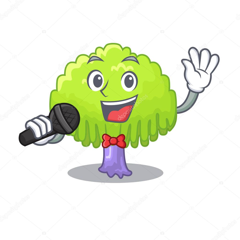 Singing green tree willow on the character vector illustrstion