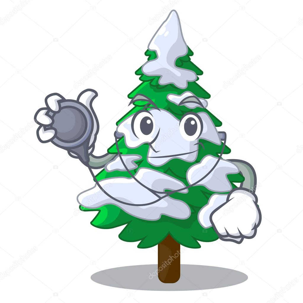 Doctor firs with snow of beautiful cartoon vector illustration