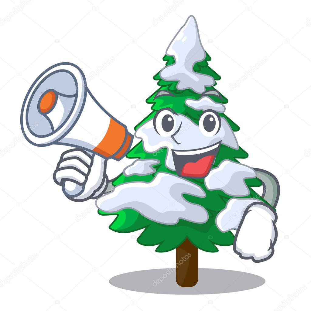 With megaphone firs with snow of beautiful cartoon vector illustration